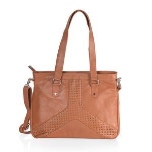 Cognac Genuine Leather RFID Laser Cut Handbag (14.5x3.5x11 in) with Removable Strap (50 in)