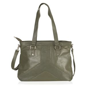 Olive Green Genuine Leather RFID Laser Cut Handbag (14.5x3.5x11 in) with Removable Strap (50 in)