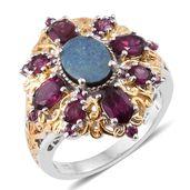 Australian Boulder Opal, Orissa Rhodolite Garnet 14K YG and Platinum Over Sterling Silver Ring (Size 8.0) TGW 5.01 cts.