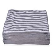 Gray Stripe Pattern Microfiber Set of 25 Cleaning Towels (12x12 in)