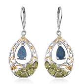 Australian Boulder Opal, Hebei Peridot 14K YG and Platinum Over Sterling Silver Lever Back Earrings TGW 3.43 cts.