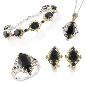 Thai Black Spinel 14K YG and Platinum Over Sterling Silver Bracelet (7.50 in), Earrings, Ring (Size 8) and Pendant With Chain (20.00 In) TGW 46.98 cts.