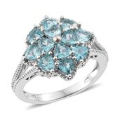Madagascar Paraiba Apatite Platinum Over Sterling Silver Flower Ring (Size 6.0) TGW 2.76 cts.