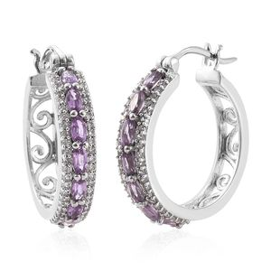 Madagascar Purple Sapphire, Cambodian Zircon Platinum Over Sterling Silver Hoop Earrings TGW 2.12 cts.
