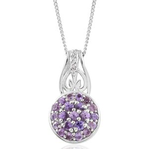 Madagascar Purple Sapphire, Cambodian Zircon Platinum Over Sterling Silver Pendant With Chain (20 in) TGW 0.74 cts.