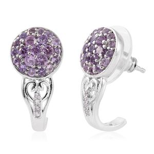Madagascar Purple Sapphire, Cambodian Zircon Platinum Over Sterling Silver J-Hoop Earrings TGW 1.50 cts.