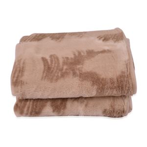 Beige Faux Fur Flannel Throw Blanket (50x60 in)