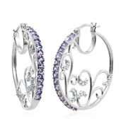 Tanzanite, Cambodian Zircon Platinum Over Sterling Silver Hoop Earrings TGW 2.70 cts.