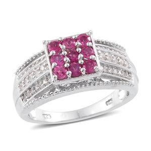 Ouro Fino Rubellite, Cambodian Zircon Platinum Over Sterling Silver Ring (Size 7.0) TGW 1.07 cts.