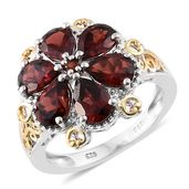 Mozambique Garnet 14K YG and Platinum Over Sterling Silver Floral Ring (Size 6.0) TGW 5.58 cts.