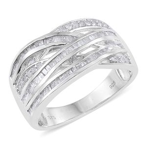 Diamond Platinum Over Sterling Silver Criss Cross Ring (Size 7.0) TDiaWt 0.73 cts, TGW 0.73 cts.