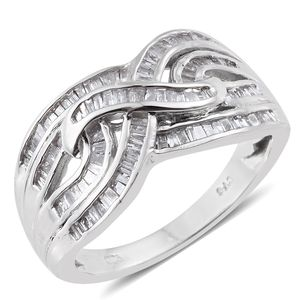 Ankur's Treasure Chest Diamond Platinum Over Sterling Silver Criss Cross Ring (Size 7.0) TDiaWt 0.50 cts, TGW 0.50 cts.