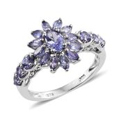 Tanzanite Platinum Over Sterling Silver Sunflower Ring (Size 5.0) TGW 1.80 cts.