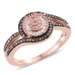 Natural Pink and Champagne Diamond 14K RG Over Sterling Silver Ring (Size 10.0) TDiaWt 0.53 cts, TGW 0.53 cts.