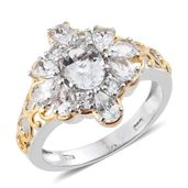 Brazilian Goshenite 14K YG and Platinum Over Sterling Silver Floral Ring (Size 6.0) TGW 2.92 cts.