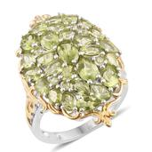 One Day TLV Hebei Peridot 14K YG and Platinum Over Sterling Silver Ring (Size 8.0) TGW 7.47 cts.