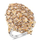 Brazilian Citrine 14K YG and Platinum Over Sterling Silver Ring (Size 10.0) TGW 6.47 cts.