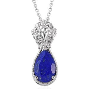 Lapis Lazuli Stainless Steel Pendant With Chain (20 in) TGW 5.10 cts.