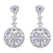 Brazilian Goshenite Platinum Over Sterling Silver Flower Dangle Earrings TGW 6.84 cts.