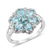 Madagascar Paraiba Apatite, Cambodian Zircon Platinum Over Sterling Silver Flower Ring (Size 10.0) TGW 3.60 cts.