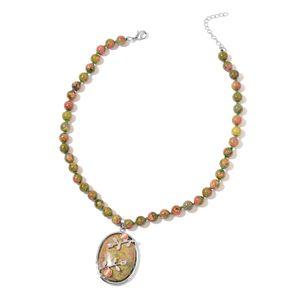 Unakite, Lab Created Cats Eye Orange Silvertone Necklace (18 in) TGW 303.50 cts.