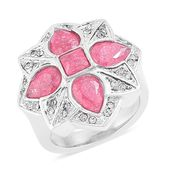 Crackled Simulated Pink Diamond, White Austrian Crystal Black Oxidized Stainless Steel Cocktail Ring (Size 8.0) TGW 5.00 cts.