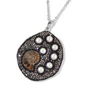 Ammonite, Glass, Chroma Black Oxidized Silvertone Pendant With Stainless Steel Chain (24 in) TGW 10.00 cts.