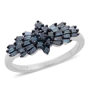 Blue Diamond (IR) Blue Rhodium and Platinum Over Sterling Silver Ring (Size 5.0) TDiaWt 1.00 cts, TGW 1.00 cts.
