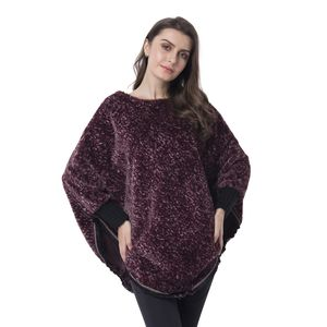 Marsala 100% Polyester and Faux Fur Scoop Neck V-Shape Poncho with Lace Border (One Size)
