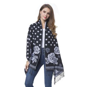 Black and White Rose and Polka Dot Pattern 60% Acrylic and 40% Polyester Reversible Shawl with Fringe (78x26 in)