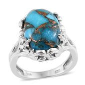 Karen's Fabulous Finds Mojave Blue Turquoise Platinum Over Sterling Silver Ring (Size 7.0) TGW 12.40 cts.