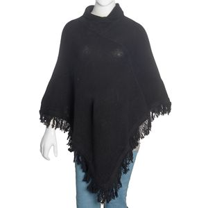 Black Lamb Wool Turtle Neck V-Shape Fringe Poncho (One Size)