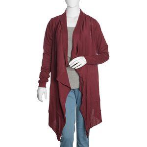 Maroon 100% Cotton Long Sleeve Open Waterfall Cardigan (S/M)