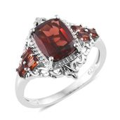 Mozambique Garnet Platinum Over Sterling Silver Ring (Size 6.0) TGW 4.12 cts.
