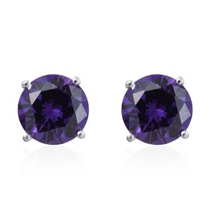 Simulated Amethyst Diamond Sterling Silver Stud Earrings TGW 6.70 cts.