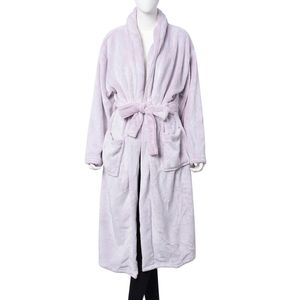 Powder Pink Flannel Robe with Sherpa on Collar (One Size)