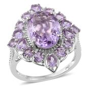 Rose De France Amethyst Platinum Over Sterling Silver Ring (Size 8.0) TGW 8.29 cts.