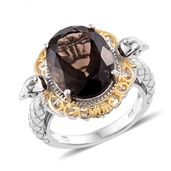 Brazilian Smoky Quartz 14K YG and Platinum Over Sterling Silver Ring (Size 7.0) TGW 11.00 cts.