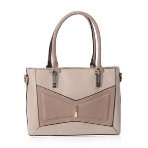 Light Beige and Taupe Geometric Bowtie Faux Leather Shoulder Bag with Removable Strap (51 in) Standing Stud (12.5x5.5x9 in)