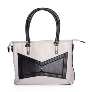 Cream and Black Geometric Bowtie Faux Leather Shoulder Bag with Removable Strap (51 in) Standing Stud (12.5x5.5x9 in)