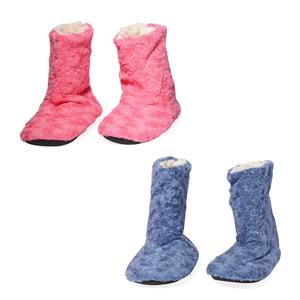 Doorbuster Blue and Pink 100% Polyester Set of 2 Booties House Slipper (S-M)