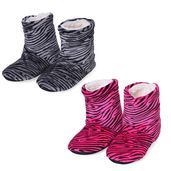 TLV Gray and Pink Zebra Print 100% Polyester Set of 2 Booties House Slipper (S-M)