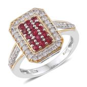Mega Clearance Burmese Red Spinel, Cambodian Zircon 14K YG and Platinum Over Sterling Silver Cluster Ring (Size 5.0) TGW 1.28 cts.