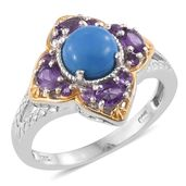 Ceruleite, Amethyst 14K YG and Platinum Over Sterling Silver Ring (Size 7.0) TGW 1.83 cts.