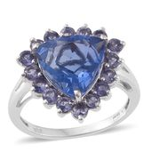 Karen's Fabulous Finds Color Change Fluorite, Catalina Iolite Platinum Over Sterling Silver Ring (Size 7.0) TGW 7.88 cts.