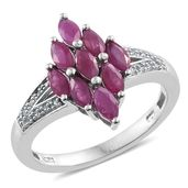 Burmese Ruby, Cambodian Zircon Platinum Over Sterling Silver Split Ring (Size 6.0) TGW 1.85 cts.