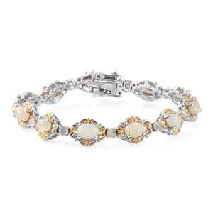 Ethiopian Welo Opal 14K YG and Platinum Over Sterling Silver Openwork Bracelet with Box Clasp (6.75 In) TGW 6.90 cts.