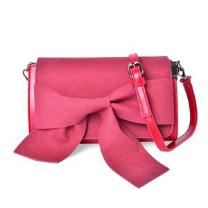 Red Faux Leather Chic Style Bowtie Flap Over Clutch with Removable Crossbody Strap (9.5x3x5 in)