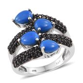 Ceruleite, Thai Black Spinel Black Rhodium & Platinum Over Sterling Silver Ring (Size 7.0) TGW 5.45 cts.