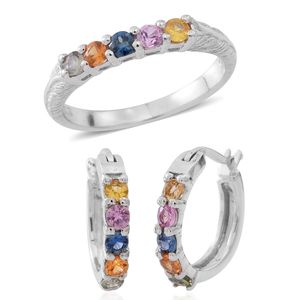 Year End Clearance Deal Multi Sapphire Sterling Silver 5 Stone Hoop Earrings and Ring with Engraved Band (Size 7) TGW 1.20 cts.